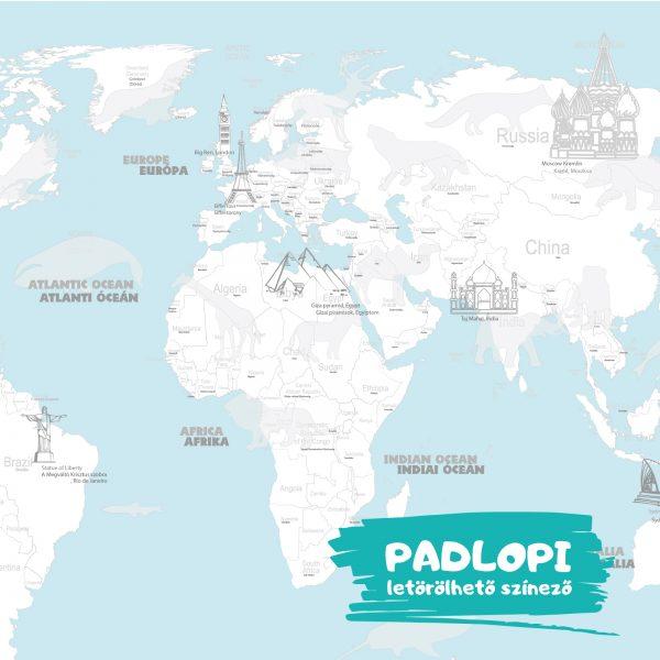 Óriás Világtérkép Padlopi letörölhető színező